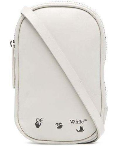 Белая с ремешком кожаная ключница Off-white