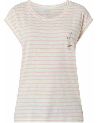Różowa bluzka w paski z haftem Esprit