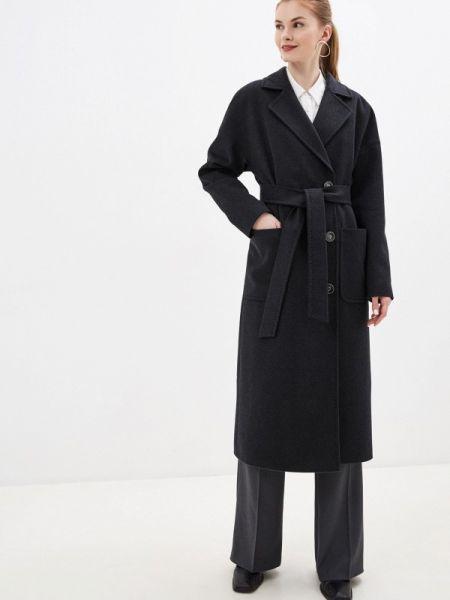 Черное зимнее пальто с капюшоном Samos Fashion Group