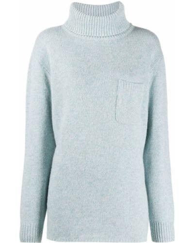 Шерстяной синий джемпер с карманами с высоким воротником Maison Martin Margiela Pre-owned