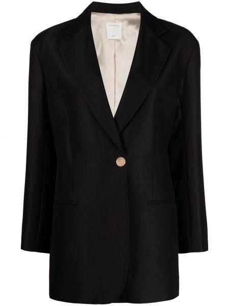 Однобортный черный удлиненный пиджак на пуговицах Sandro Paris