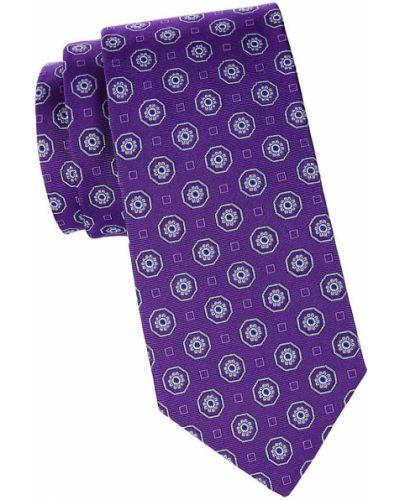 Шелковый фиолетовый медальон с принтом Brooks Brothers