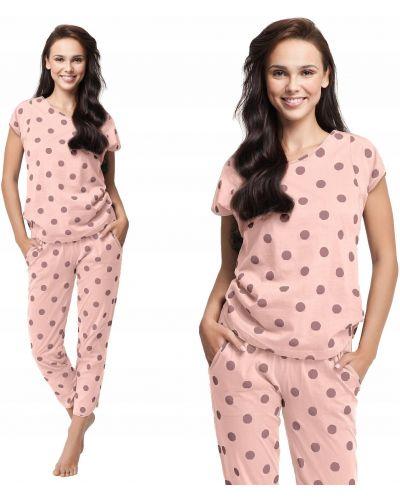Różowa piżama bawełniana krótki rękaw Luna