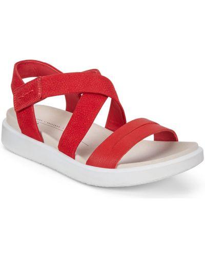 Сандалии красные на каблуке Ecco