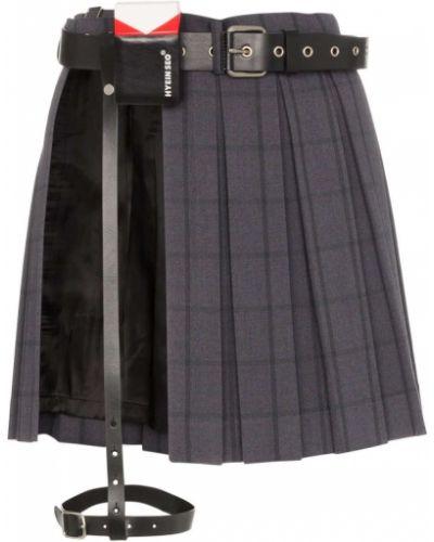 Кожаная плиссированная юбка мини с поясом Hyein Seo