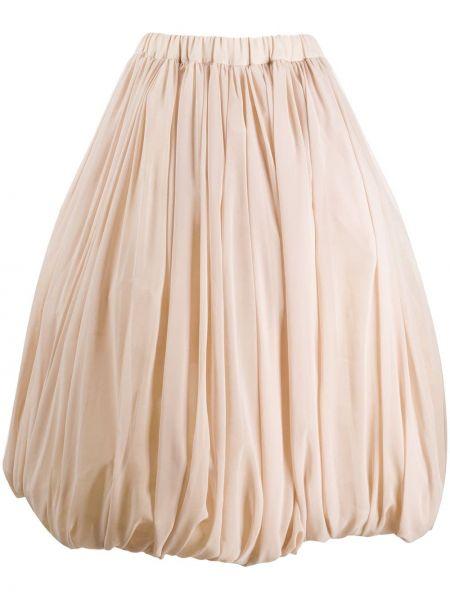 Нейлоновая пышная розовая юбка миди со складками Comme Des Garçons