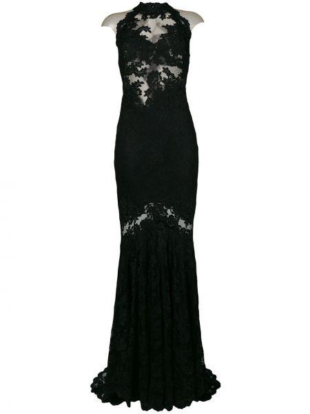 Черное ажурное платье макси с декоративной отделкой Olvi´s