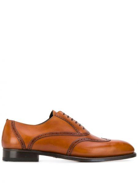 Ażurowy brązowy buty brogsy z prawdziwej skóry okrągły nos Brioni