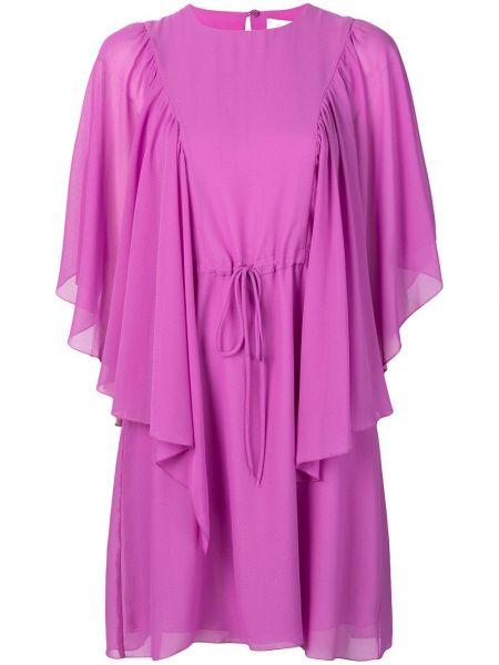Розовое расклешенное платье с вырезом из вискозы See By Chloé