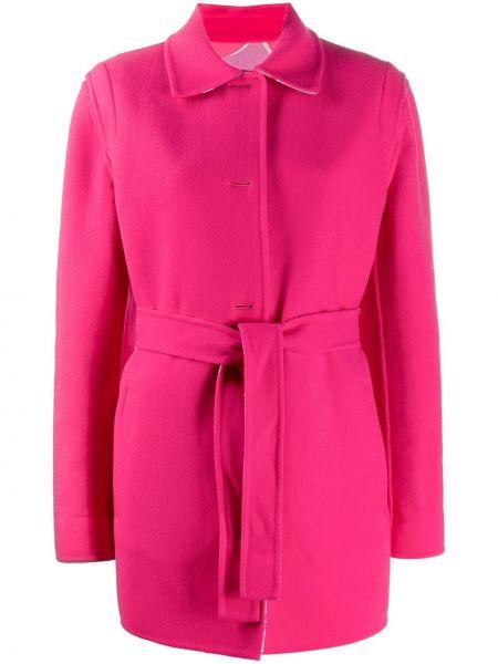 Розовое шерстяное пальто классическое с капюшоном Emilio Pucci