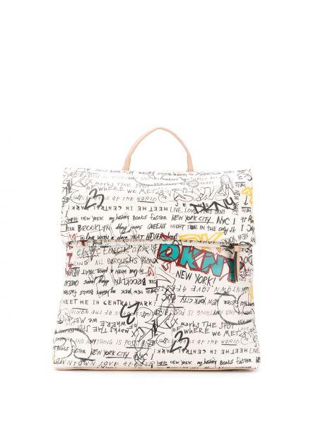 Белая сумка на молнии с подкладкой Dkny
