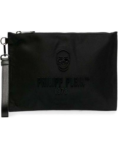 Z paskiem bawełna skórzany czarny torba sprzęgło Philipp Plein