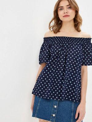 Блузка с открытыми плечами синяя весенний United Colors Of Benetton