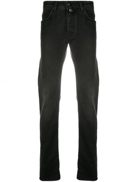 Хлопковые черные прямые джинсы-скинни Jacob Cohen