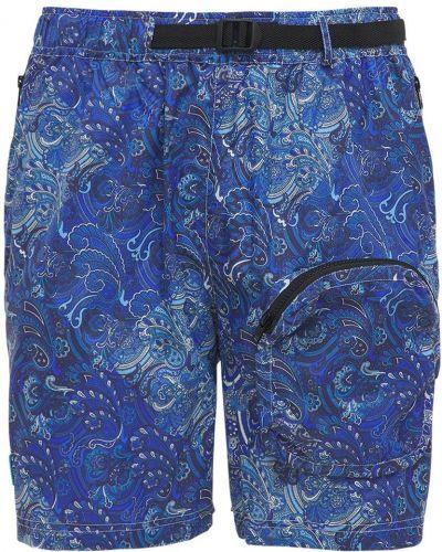 Niebieskie szorty z paskiem z printem Lc23