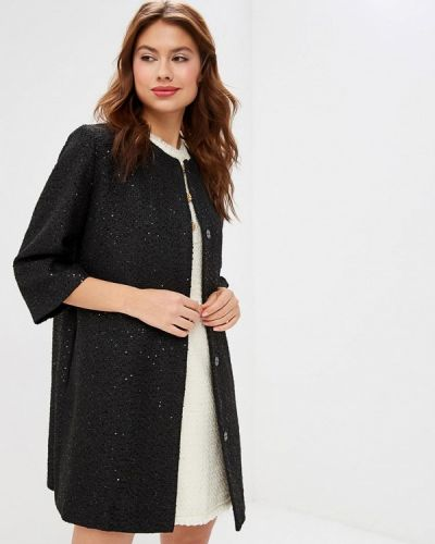 Черное пальто с капюшоном Lusio