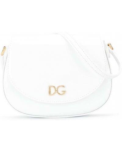 Лаковая белая кожаная сумка через плечо Dolce & Gabbana Kids