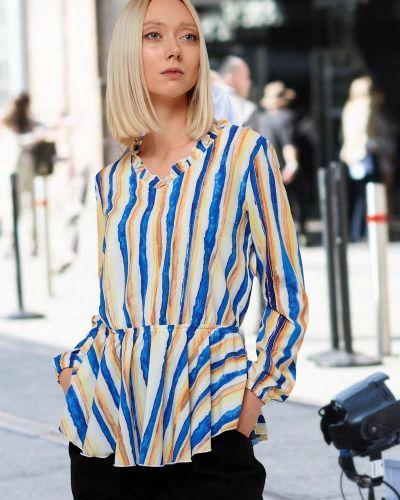 Повседневная блузка с V-образным вырезом на резинке свободного кроя Mix-mode