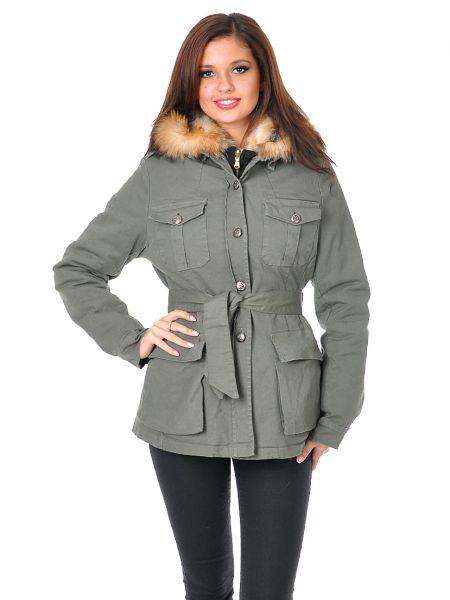 Пальто из лисы - зеленое Mor`a