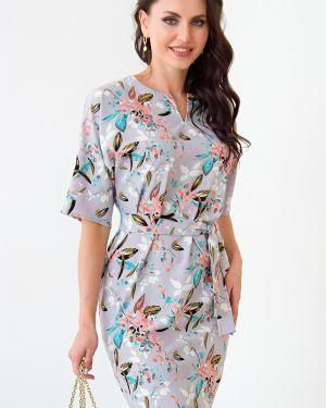 Платье с поясом серое с цветочным принтом Lady Taiga