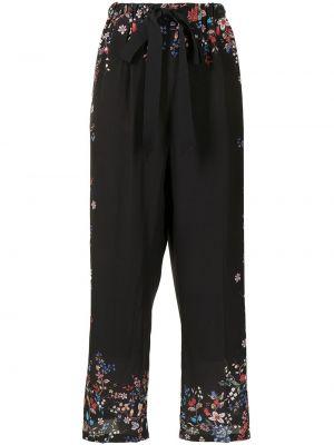Czarne spodnie w kwiaty Erdem