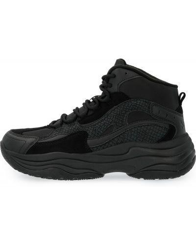 Спортивные теплые черные высокие кроссовки на шнуровке Kappa