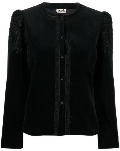 Бархатный пиджак - черный Hermes