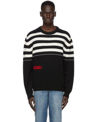 Czarny sweter wełniany w paski 032c