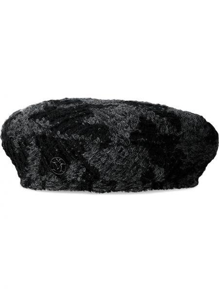 Czarna beret wełniana Maison Michel