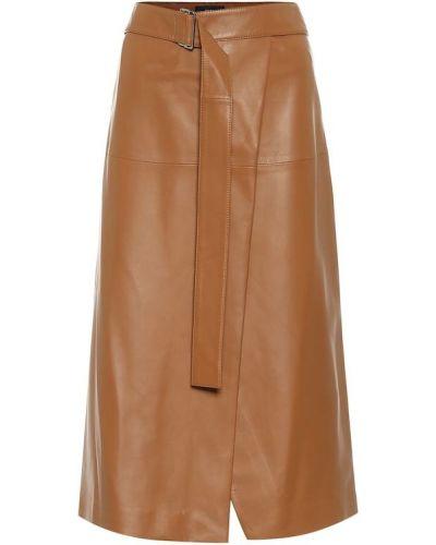 Кожаная юбка миди - коричневая Joseph