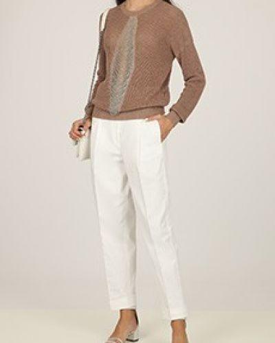 Хлопковые прямые белые брюки Peserico
