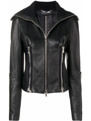 Черная куртка с манжетами на молнии байкерская Dolce & Gabbana Pre-owned