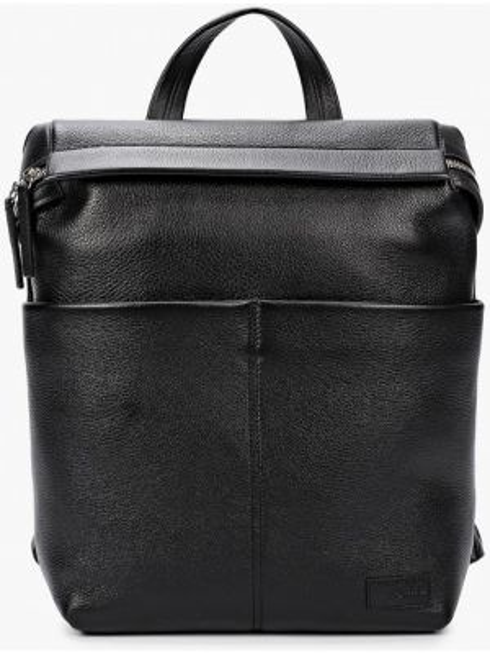 Городской черный рюкзак из натуральной кожи Sergio Belotti