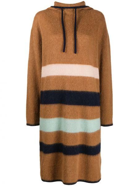 Коричневое шелковое платье миди в полоску Lanvin