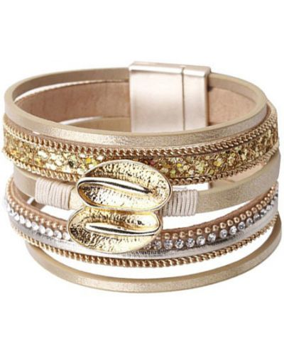 Кожаный браслет - бежевый Evora