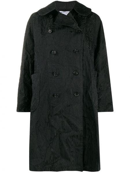 Черное длинное пальто с капюшоном двубортное Comme Des Garçons Comme Des Garçons