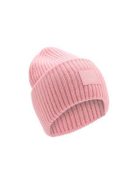 Шерстяная розовая шапка бини с отворотом Acne Studios