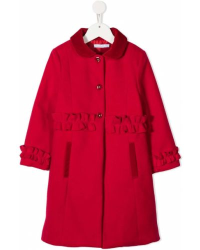 С рукавами длинное пальто из вискозы на пуговицах с оборками Patachou