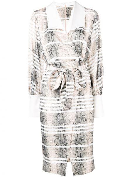 Платье с поясом с запахом на пуговицах Three Floor