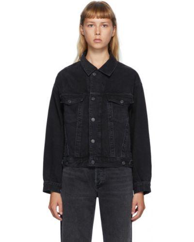 Podwójnie czarny dżinsowa jeansy z kieszeniami Agolde