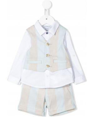 Klasyczny niebieski garnitur w paski Emporio Armani Kids