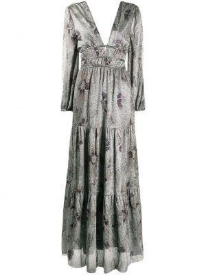 С рукавами черное платье макси с V-образным вырезом металлическое Ba&sh