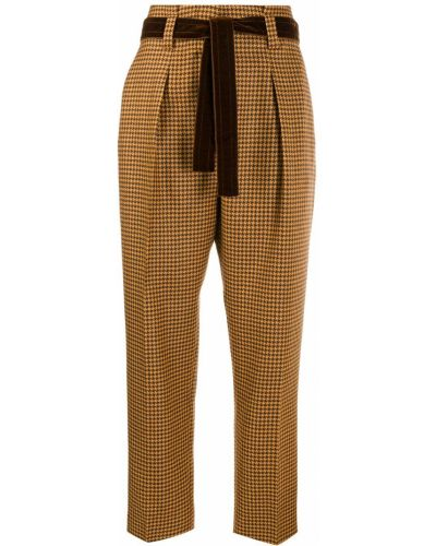 Укороченные брюки с завышенной талией плиссированные Pt01
