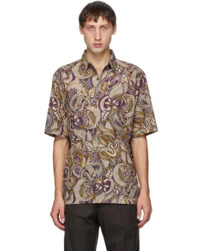 Хлопковая рубашка с короткими рукавами с воротником Dries Van Noten
