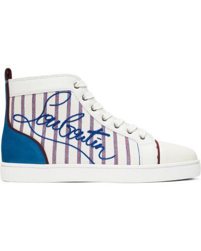 Białe sneakersy koronkowe Christian Louboutin