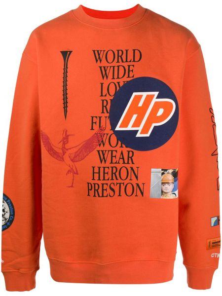 Bawełna z rękawami pomarańczowy bluza z mankietami Heron Preston