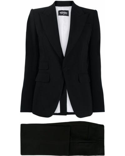 Czarny garnitur bawełniany z paskiem Dsquared2