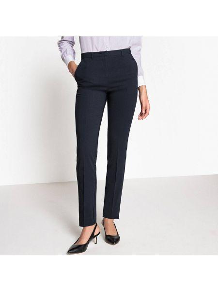 Темно-синие брюки дудочки с поясом узкого кроя из вискозы La Redoute Collections