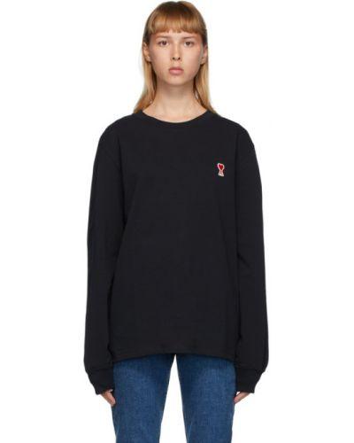 Черная рубашка с воротником с вышивкой с манжетами Ami Alexandre Mattiussi