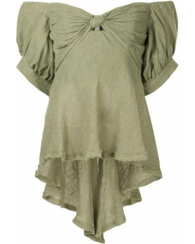 Блузка с открытыми плечами зеленый без бретелек Kitx
